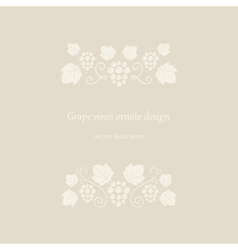 Grape vines beige ornate frame vector
