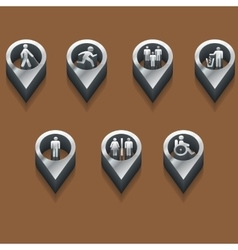 Black and white icons people isometric vector