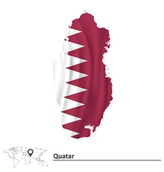 Map of quatar with flag vector