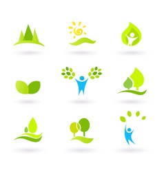 Tree nature  leaves icon set vector
