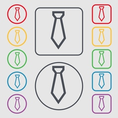 Tie icon sign symbol on the round and square vector