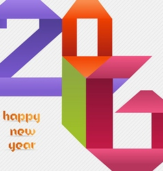 Creative happy new year 2016 colorful origami vector