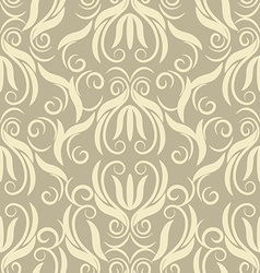 Floral beige seamless pattern vector