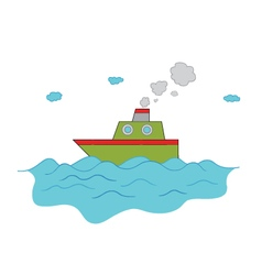 Ship on the ocean vector