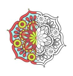 Zentangle stylized elegant color arabic Mandala vector image
