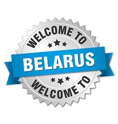 Belarus 3d silver badge with blue ribbon vector