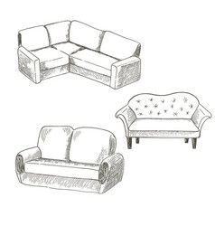 a set of pieces of furniture on a white vector image