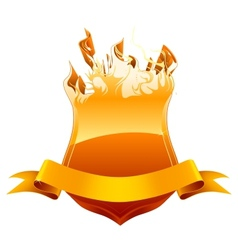 Burning shield emblem vector image vector image