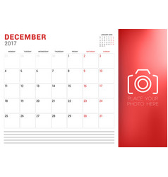 Calendar planner template for december 2017 week vector