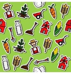 Colored farm pattern vector