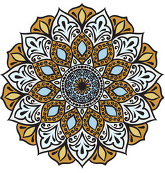 drawing of a floral mandala vector image vector image