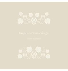 Grape vines beige ornate frame vector