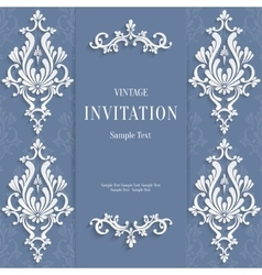 Gray christmas vintage invitation card with vector