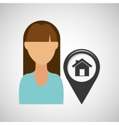 house pointer map girl design icon vector image