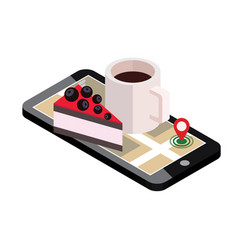 Isometric city food delivering mobile searching vector