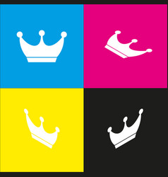 King crown sign white icon with isometric vector