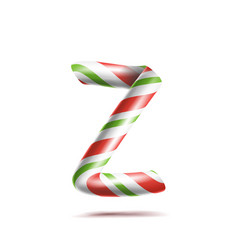 letter z 3d realistic candy cane alphabet vector image vector image