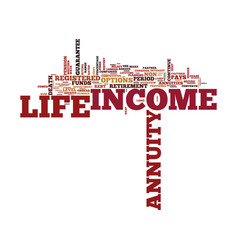 Life annuities overview text background word vector
