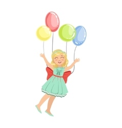 Little girl flying in the air with four party vector