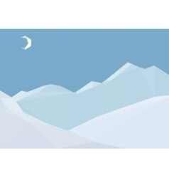 Low poly landscape night mountain vector