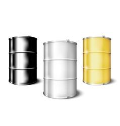 Metal drum barrels set vector image vector image
