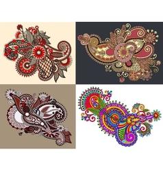 original hand draw line art ornate flower design vector image vector image