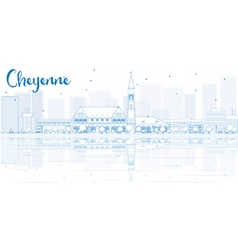 Outline cheyenne skyline with blue buildings vector