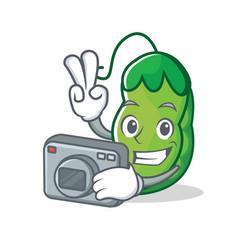 photographer peas mascot cartoon style vector image