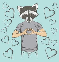 Raccoon valentine day concept vector