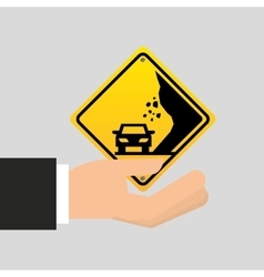 Road sing caution icon vector