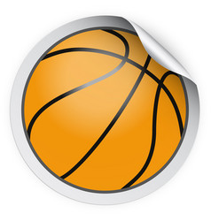 round sticker with basketball ball vector image vector image