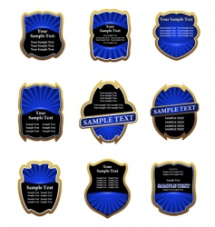 set of blue vintage labels vector image