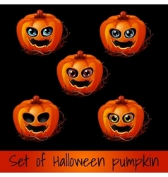 Set of five pumpkins for Halloween vector image vector image