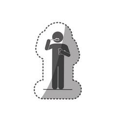 Sticker monochrome silhouette pictogram person vector