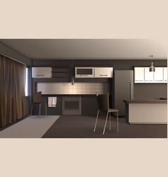 Studio apartment kitchen design vector