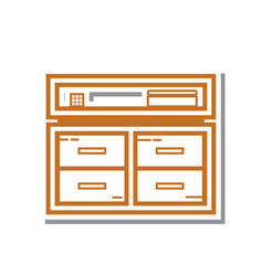 Thin line cabinet icon vector