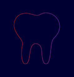 Tooth sign line icon with vector