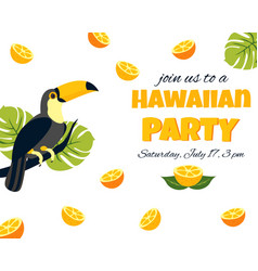 Tropical hawaiian poster with toucan vector