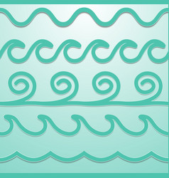 Turquoise line waves set papercut style vector