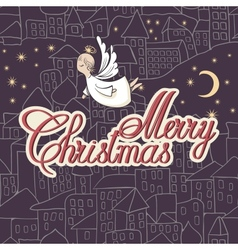 Vintage Card Merry Christmas lettering vector image vector image