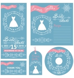 Wedding invitationswinter bridal shower set vector