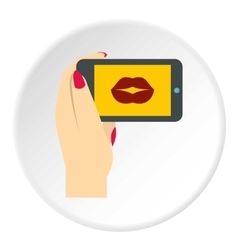 Woman taking photo icon flat style vector