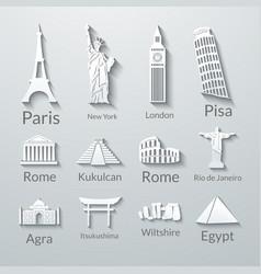 World landmarks paper icons set vector