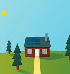 Cartoon solar powered log cabin vector image