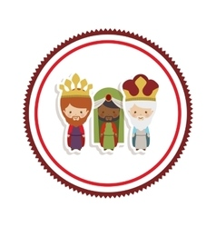 Sticker border with the three wise men cartoon vector