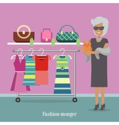 Fashion monger lady in luxury shop rich woman vector