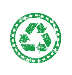 Worn recycling label vector image