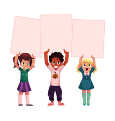 Three kids holding blank empty posters boards vector