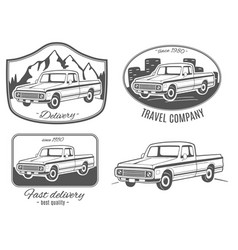 Set of logos with pickup truck vector