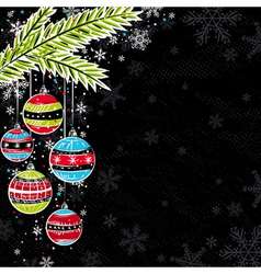 Black background with color christmas balls vector